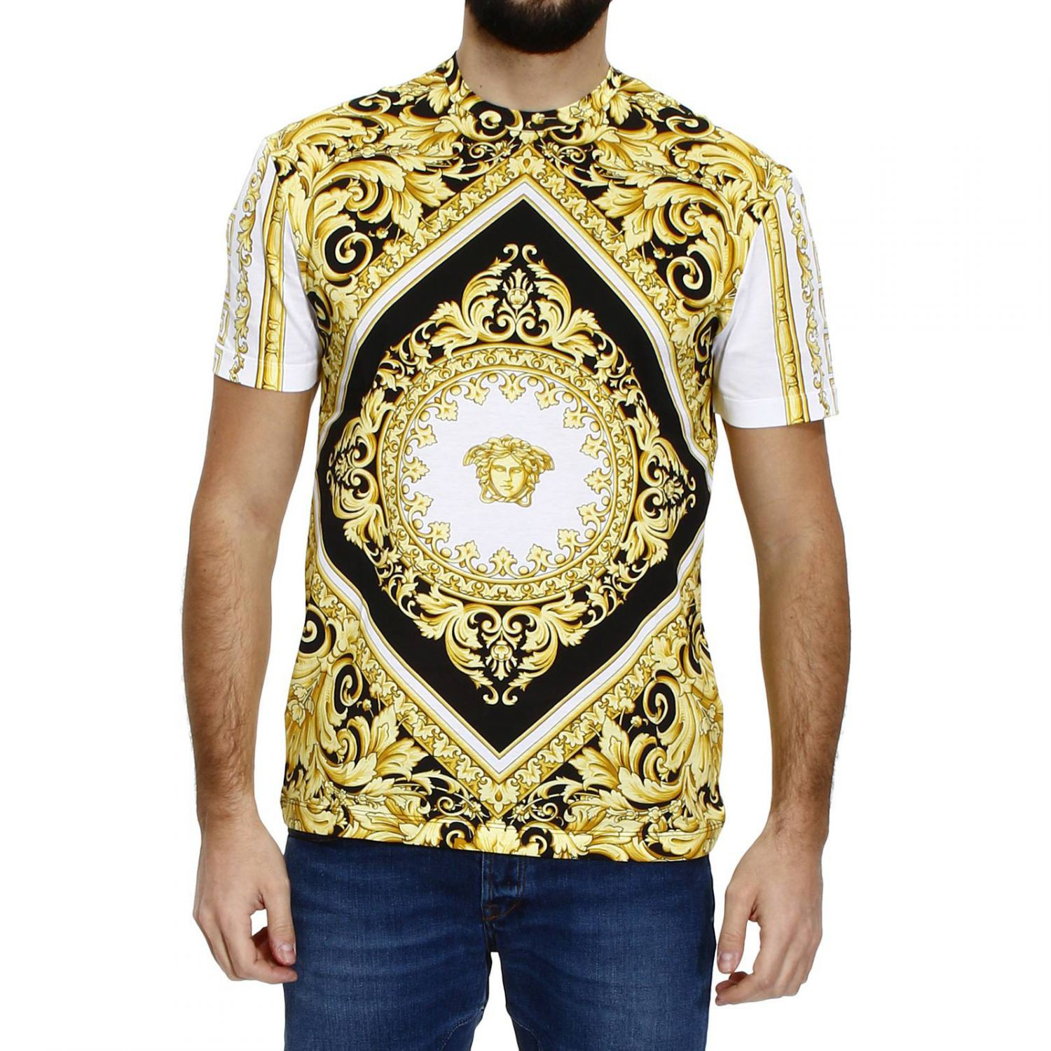 versace t shirt mezza manica girocollo stampa barocco rombo in yellow for men bianco lyst. Black Bedroom Furniture Sets. Home Design Ideas