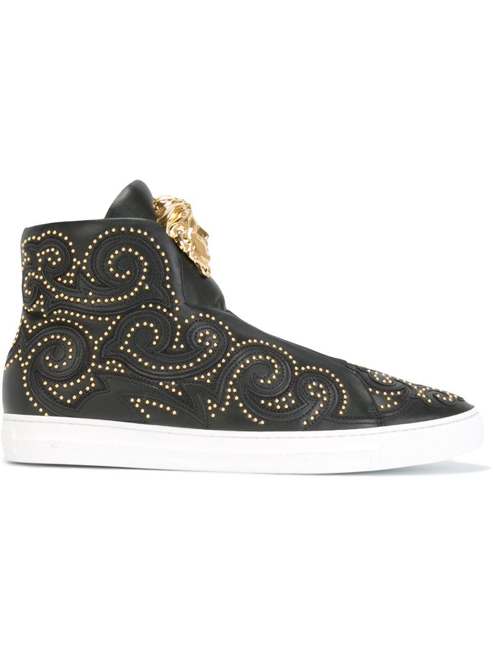 Versace Palazzo Hi Top Sneakers In Black For Men Save 30 Lyst
