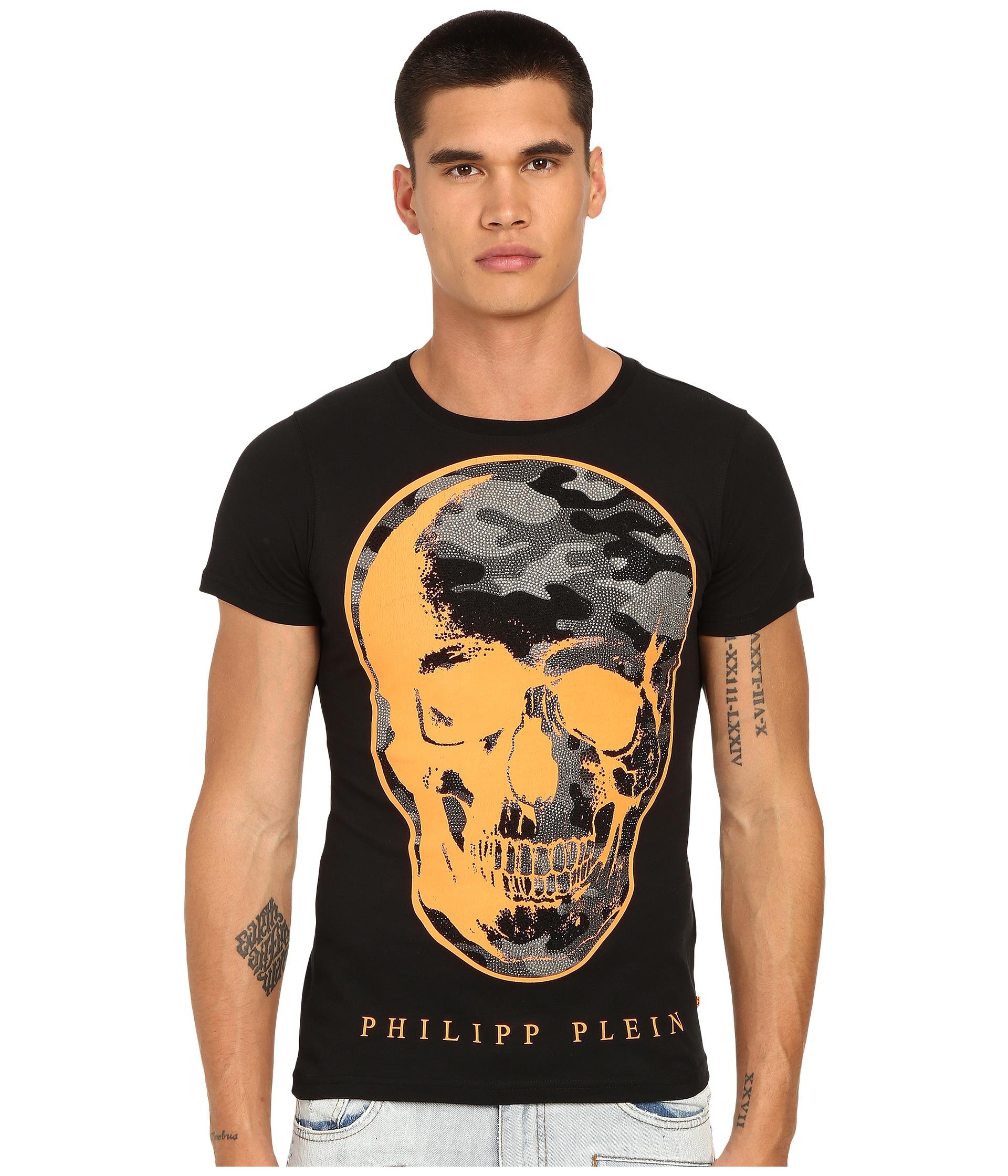 lyst philipp plein camo skull t shirt in black for men. Black Bedroom Furniture Sets. Home Design Ideas