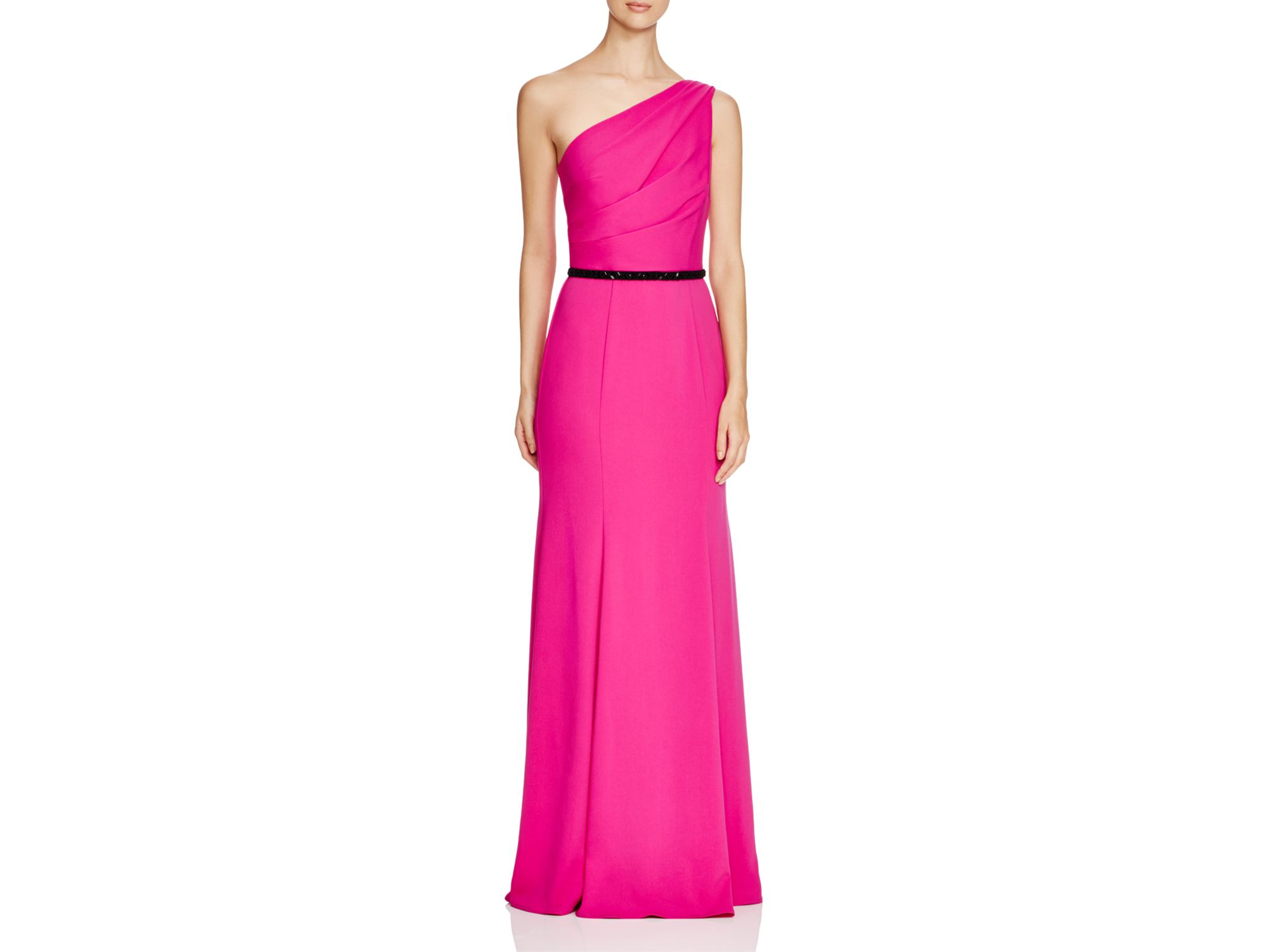 Lyst - Carmen Marc Valvo Infusion One-shoulder Belted Gown in Pink