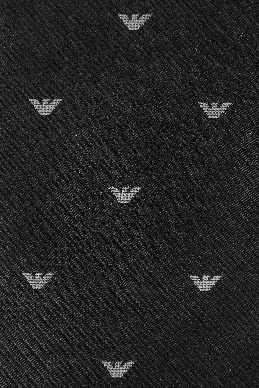 Emporio armani tie in logo patterned silk in black for men - Emporio giorgio armani logo ...