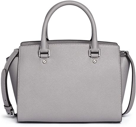 michael kors gray selma medium saffiano leather satchel lyst. Black Bedroom Furniture Sets. Home Design Ideas