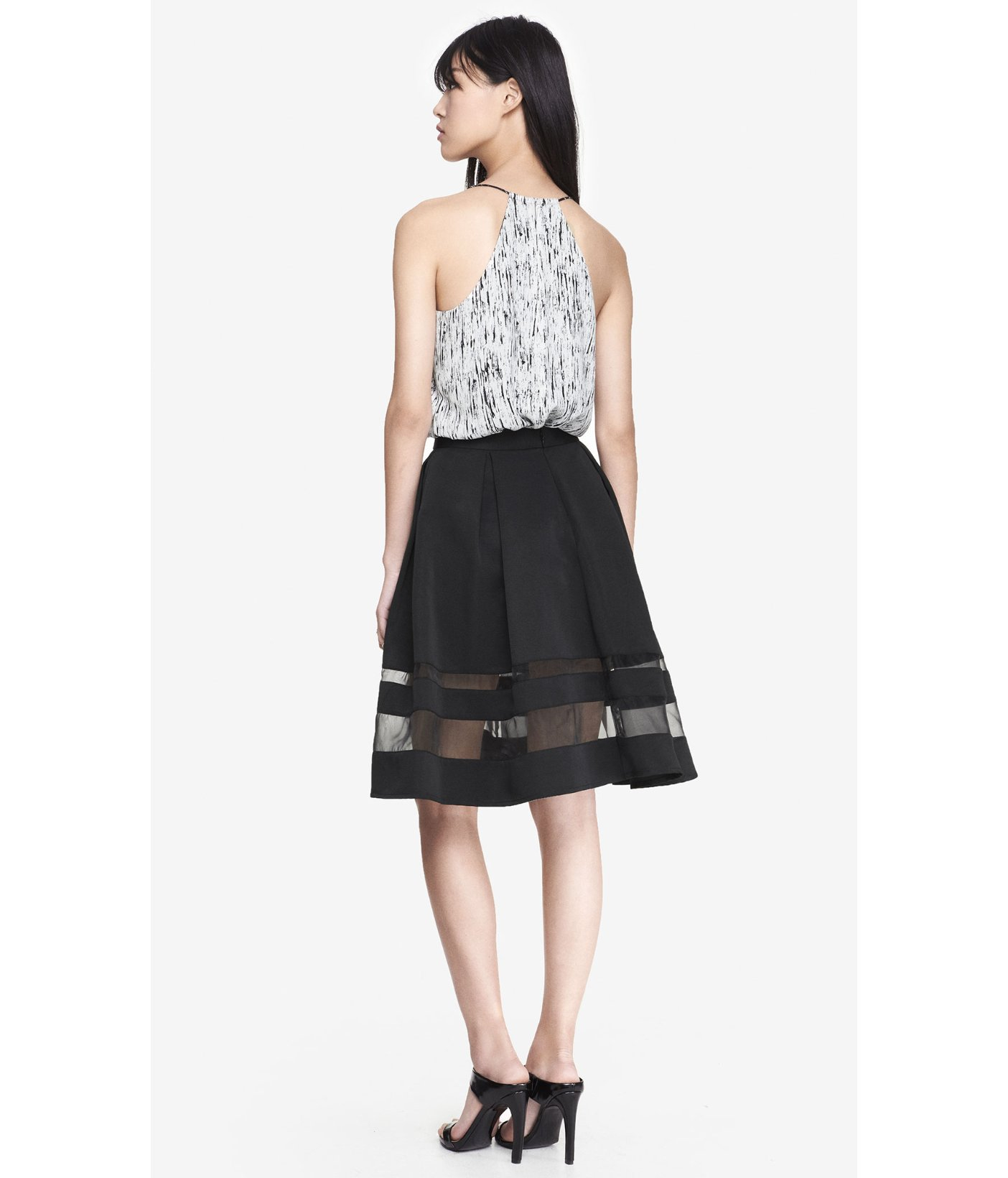 High waist organza inset midi skirt