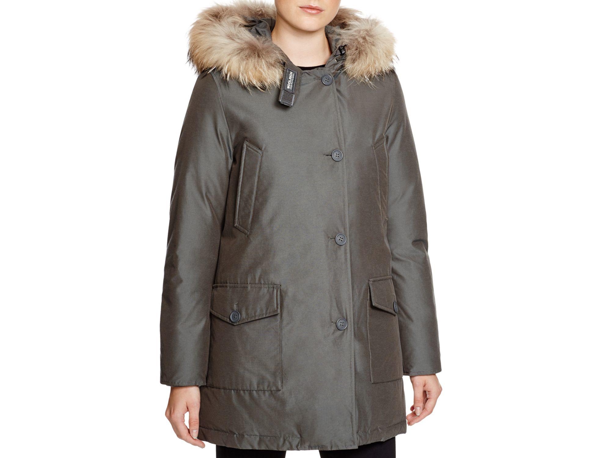 woolrich arctic fur trim parka in natural lyst. Black Bedroom Furniture Sets. Home Design Ideas