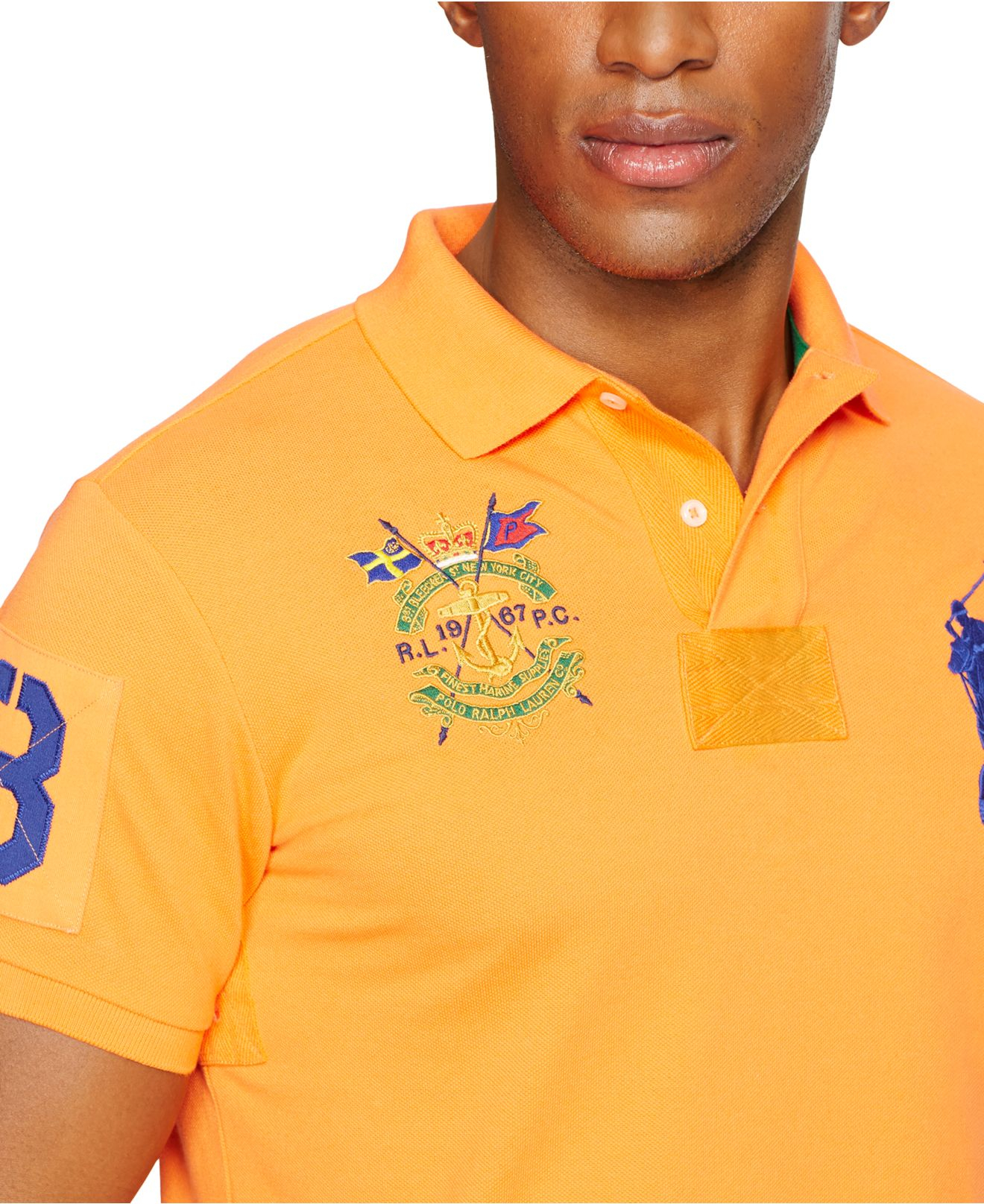 daa79099f Polo Ralph Lauren Custom-Fit Big Pony Mesh Polo Shirt in Orange for ...