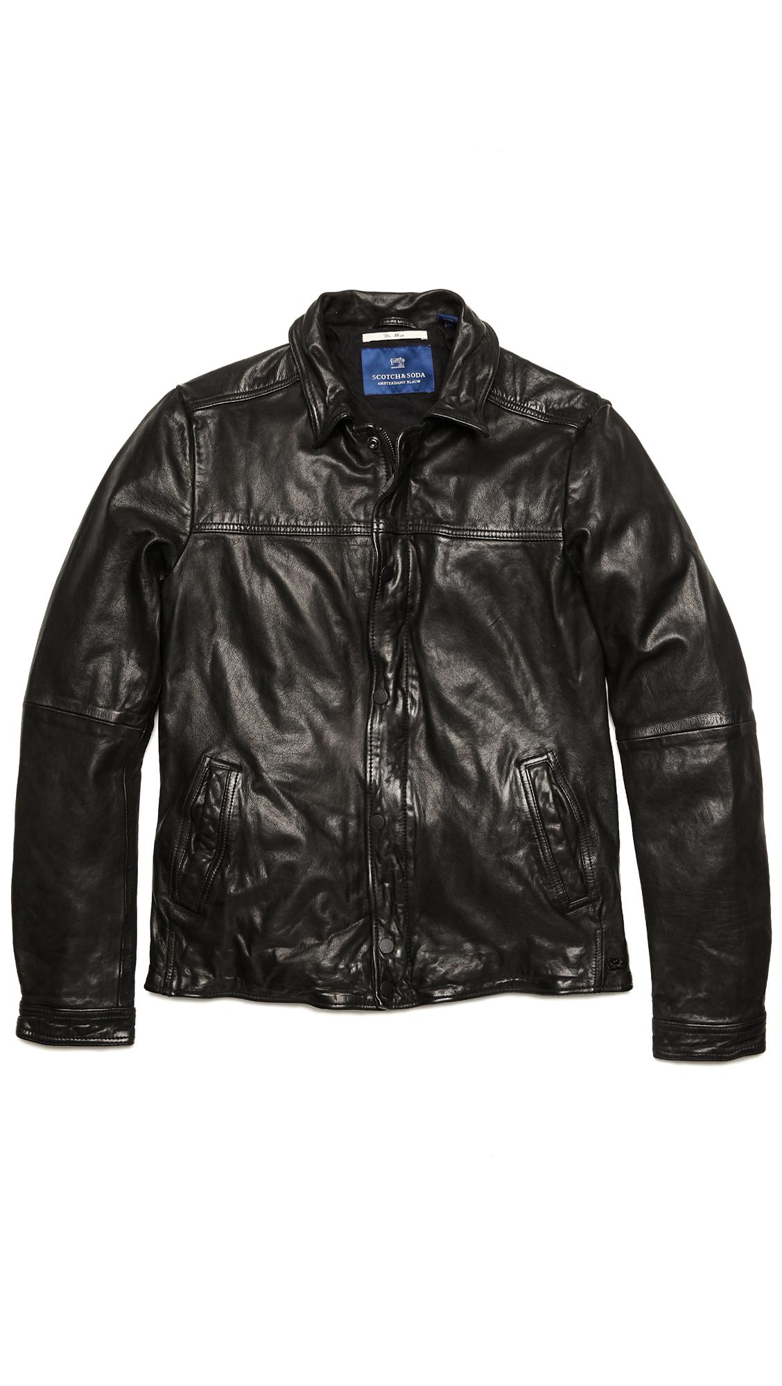 scotch soda vintage style leather jacket in black for men lyst. Black Bedroom Furniture Sets. Home Design Ideas