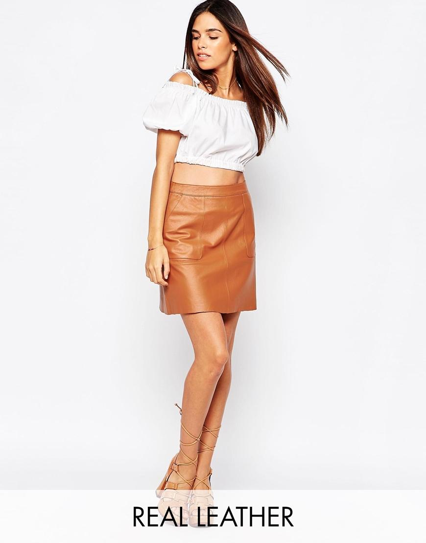 warehouse leather pocket a line skirt in brown lyst. Black Bedroom Furniture Sets. Home Design Ideas