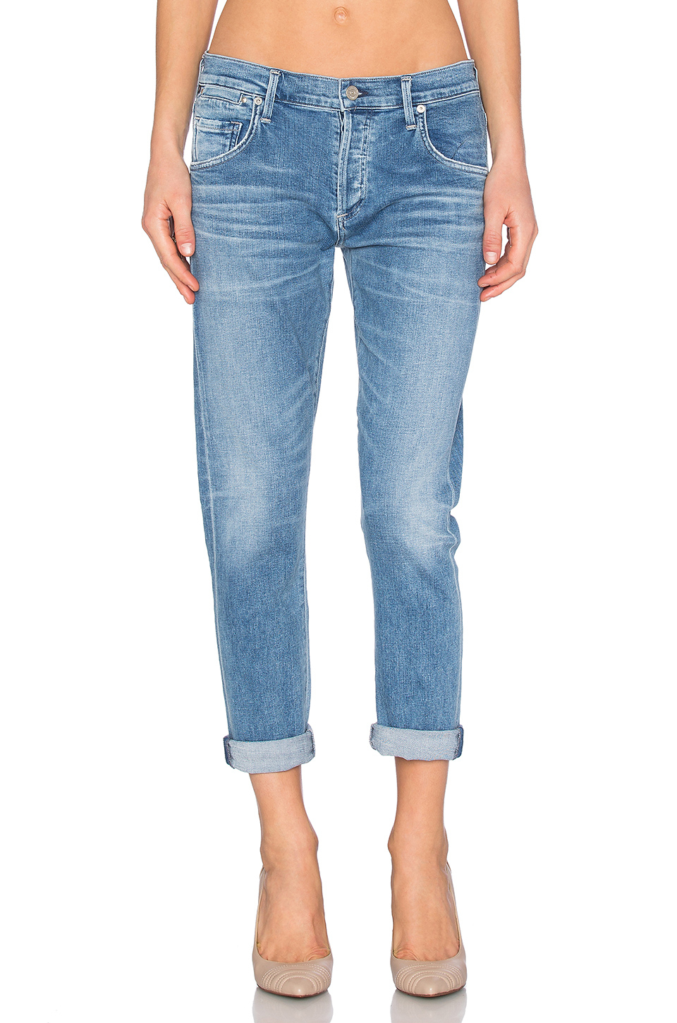 citizens of humanity emerson slim boyfriend in blue save 5 lyst
