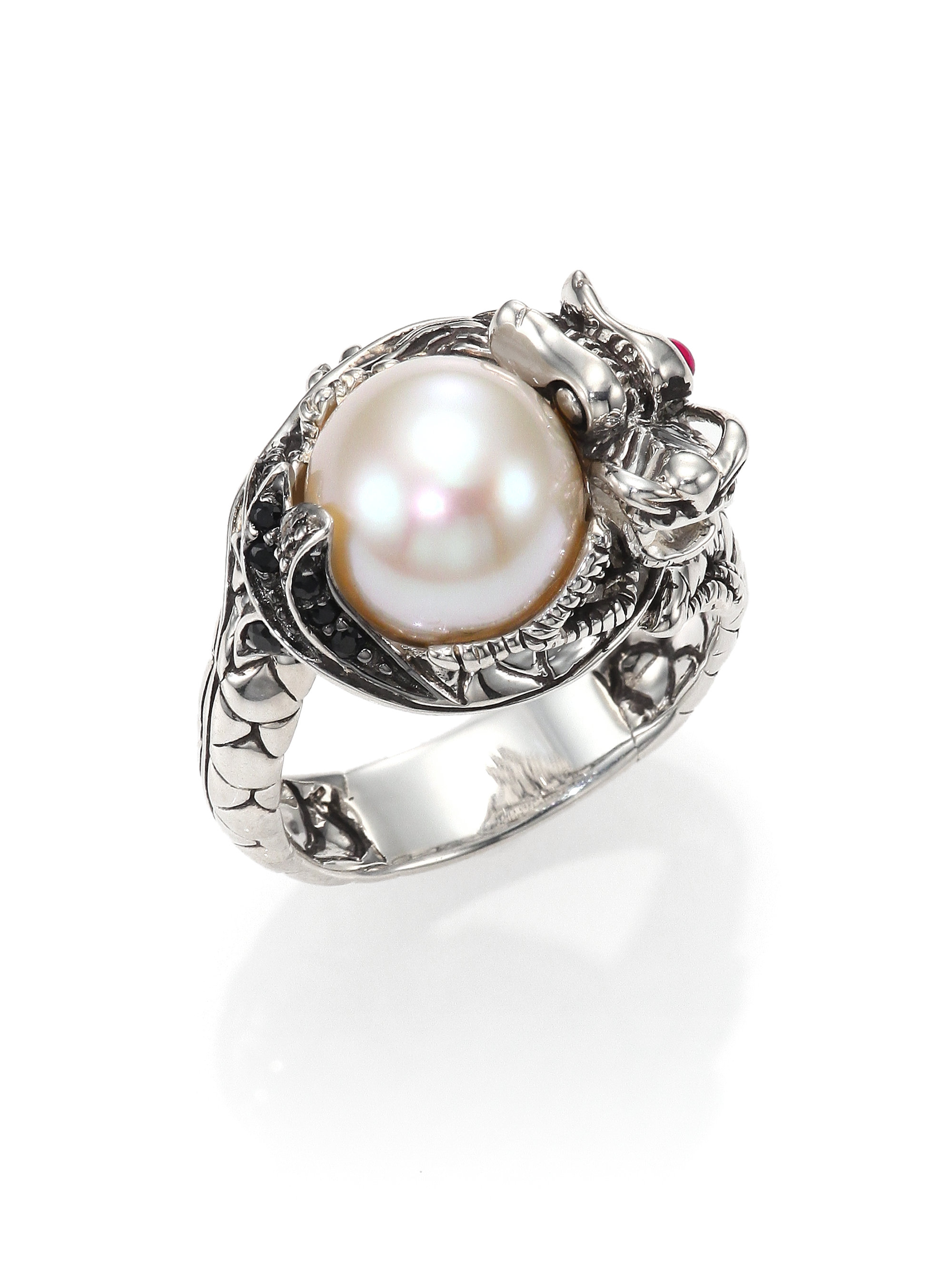 0821c04f2157b John Hardy Metallic Naga 10.5Mm-11Mm White Freshwater Pearl, Black  Sapphire, Ruby & Sterling Silver Small Dragon Ring