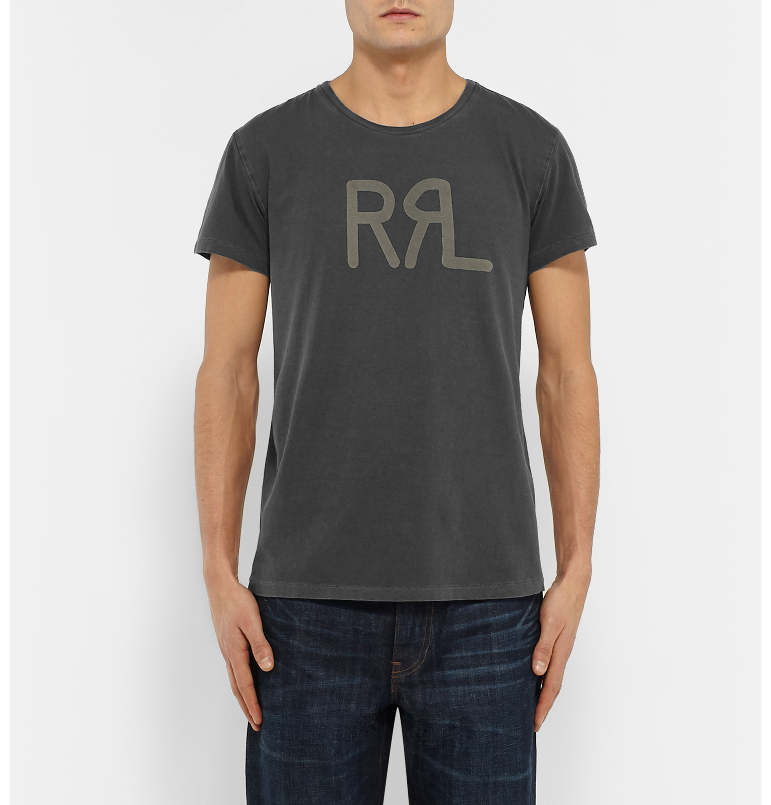 Lyst rrl slim fit printed cotton t shirt in gray for men for What is a fitted t shirt