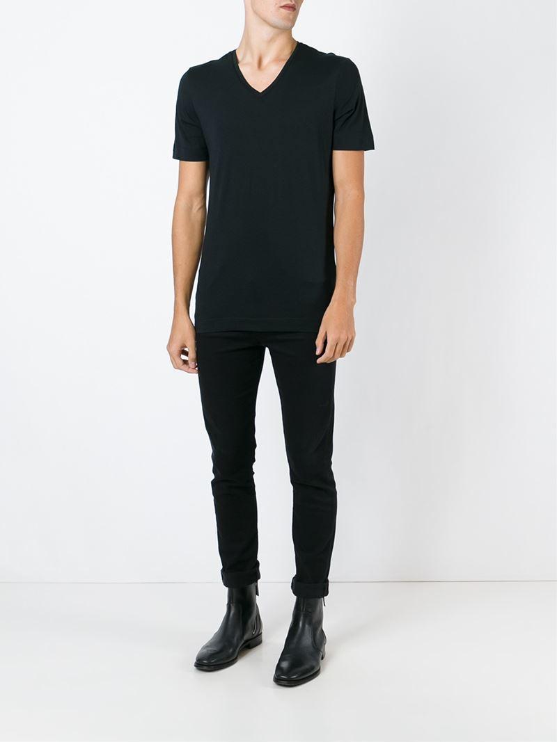 Lyst diesel black gold back print v neck t shirt in for Mens diesel v neck t shirts