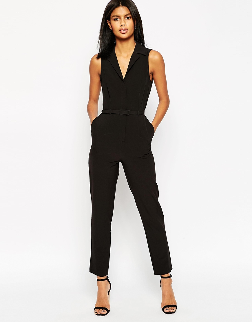 Asos Tailored Jumpsuit With Shirt Detail in Black