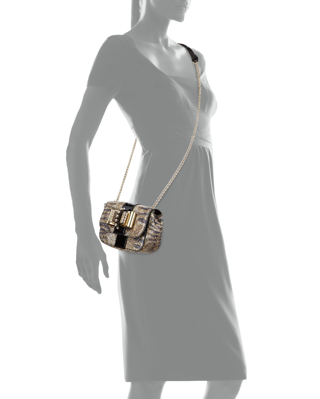 55bac3d458d Christian Louboutin Sweet Charity Small Glitter Crossbody Bag Black