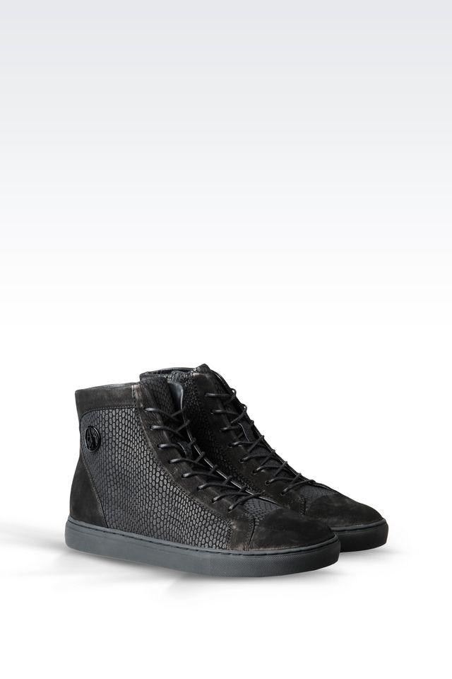 armani jeans high top sneaker in suede in black lyst. Black Bedroom Furniture Sets. Home Design Ideas