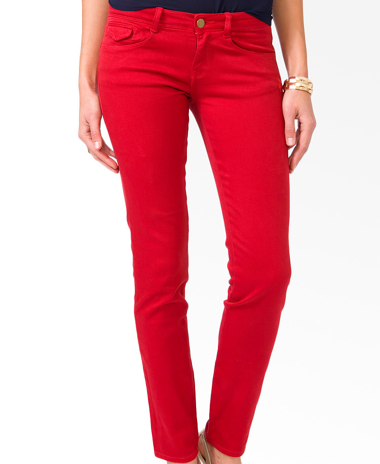 Forever 21 Colored Skinny Jeans in Red | Lyst