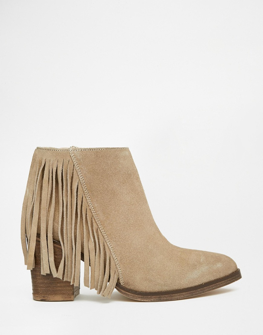 Asos Riley Suede Western Fringe Ankle Boots Sand In