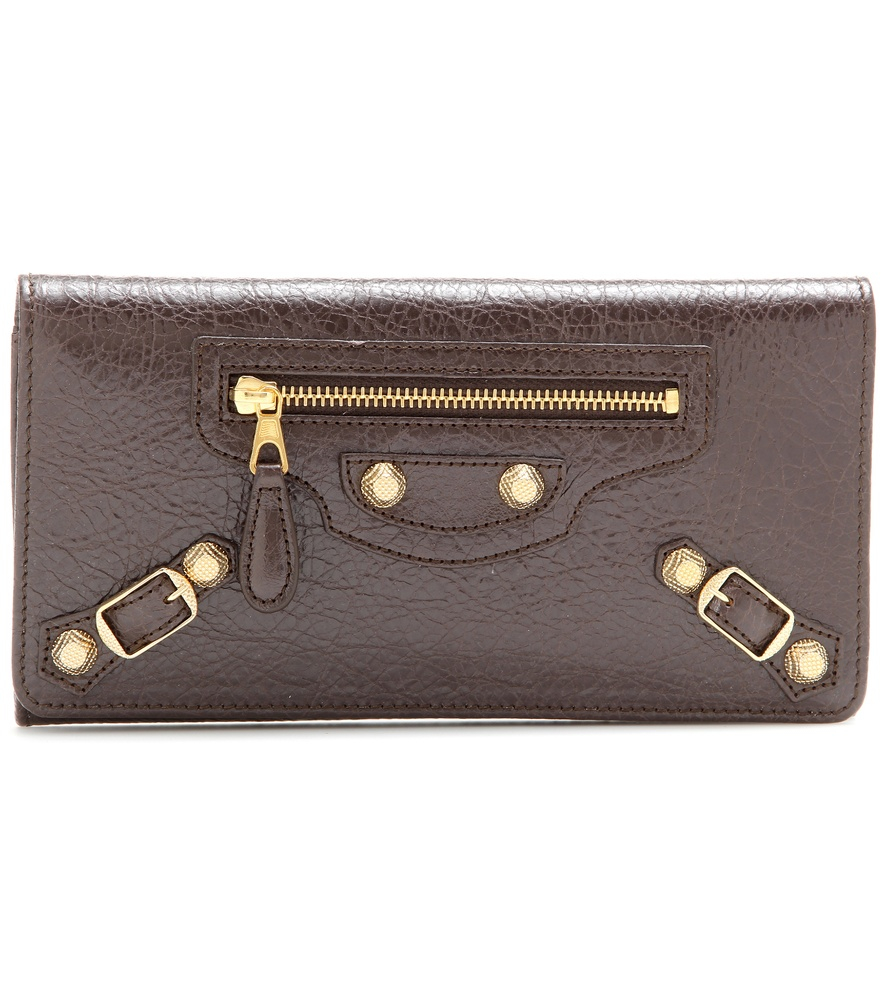 Balenciaga Giant Money Leather Wallet In Brown Lyst