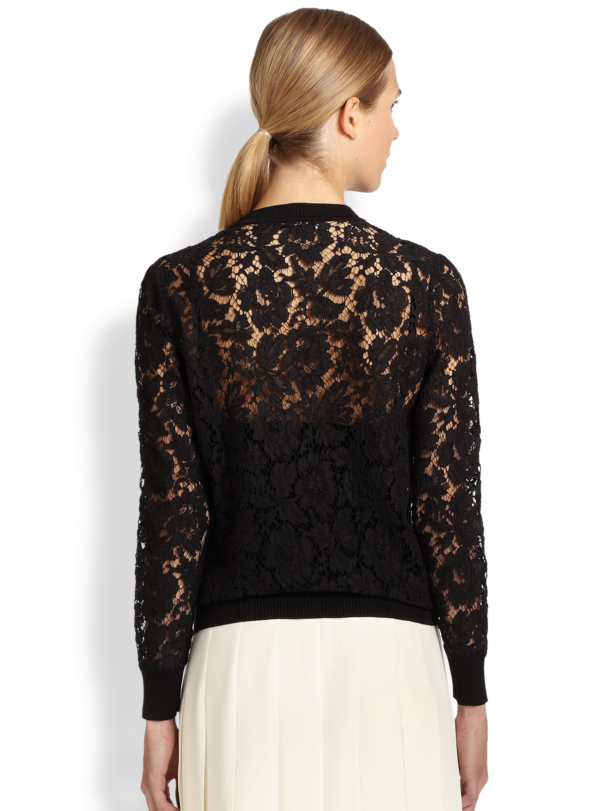 Valentino Lace Cardigan in Black | Lyst