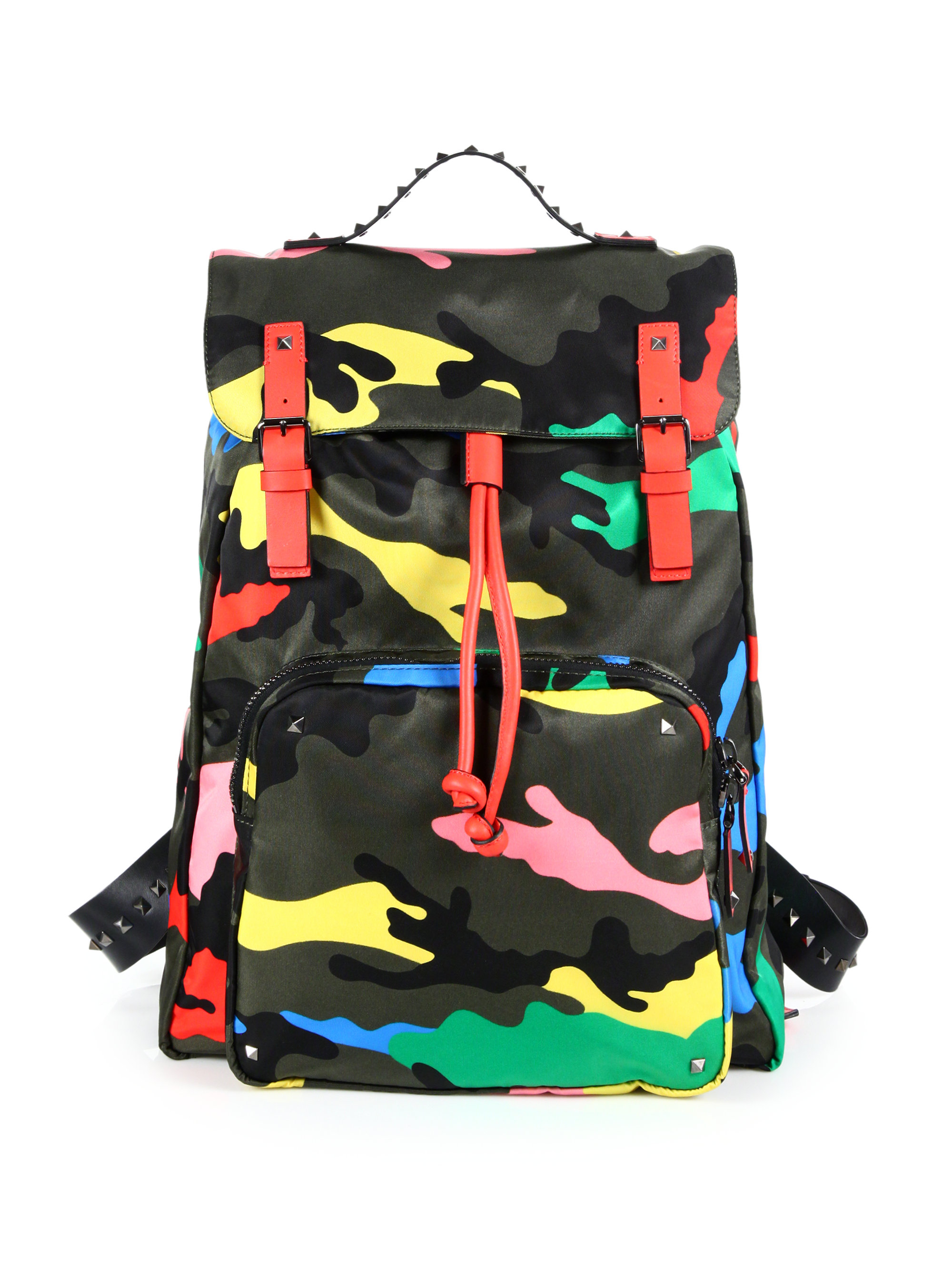 Valentino Bright Camo Leather-trimmed Nylon Backpack