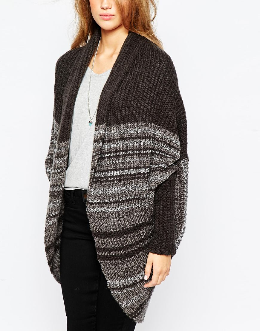 Asos Chunky Cardigan In Cocoon Shape in Gray | Lyst