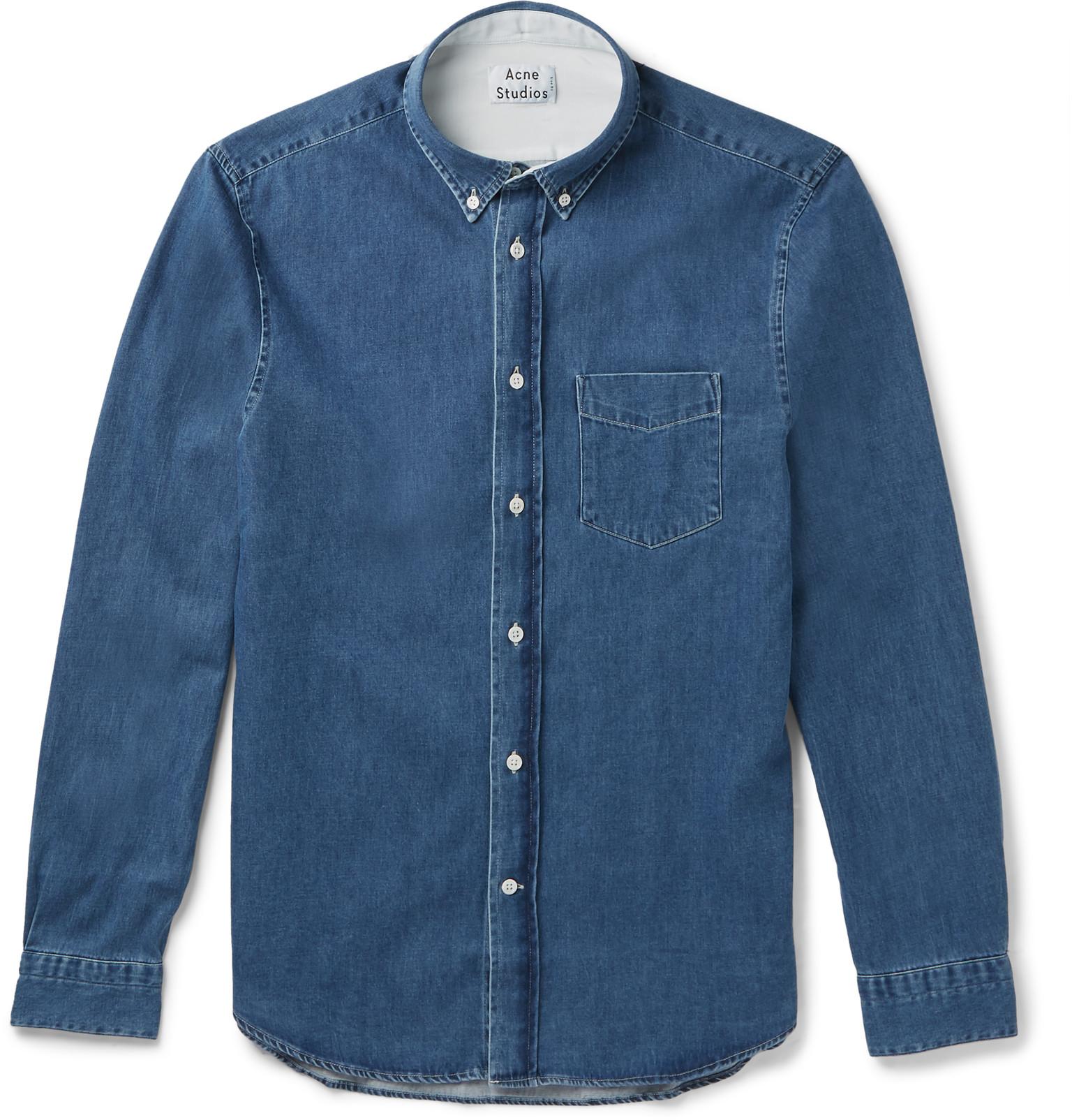 743da6d56d Acne Studios Isherwood Slim-fit Button-down Collar Washed-denim ...
