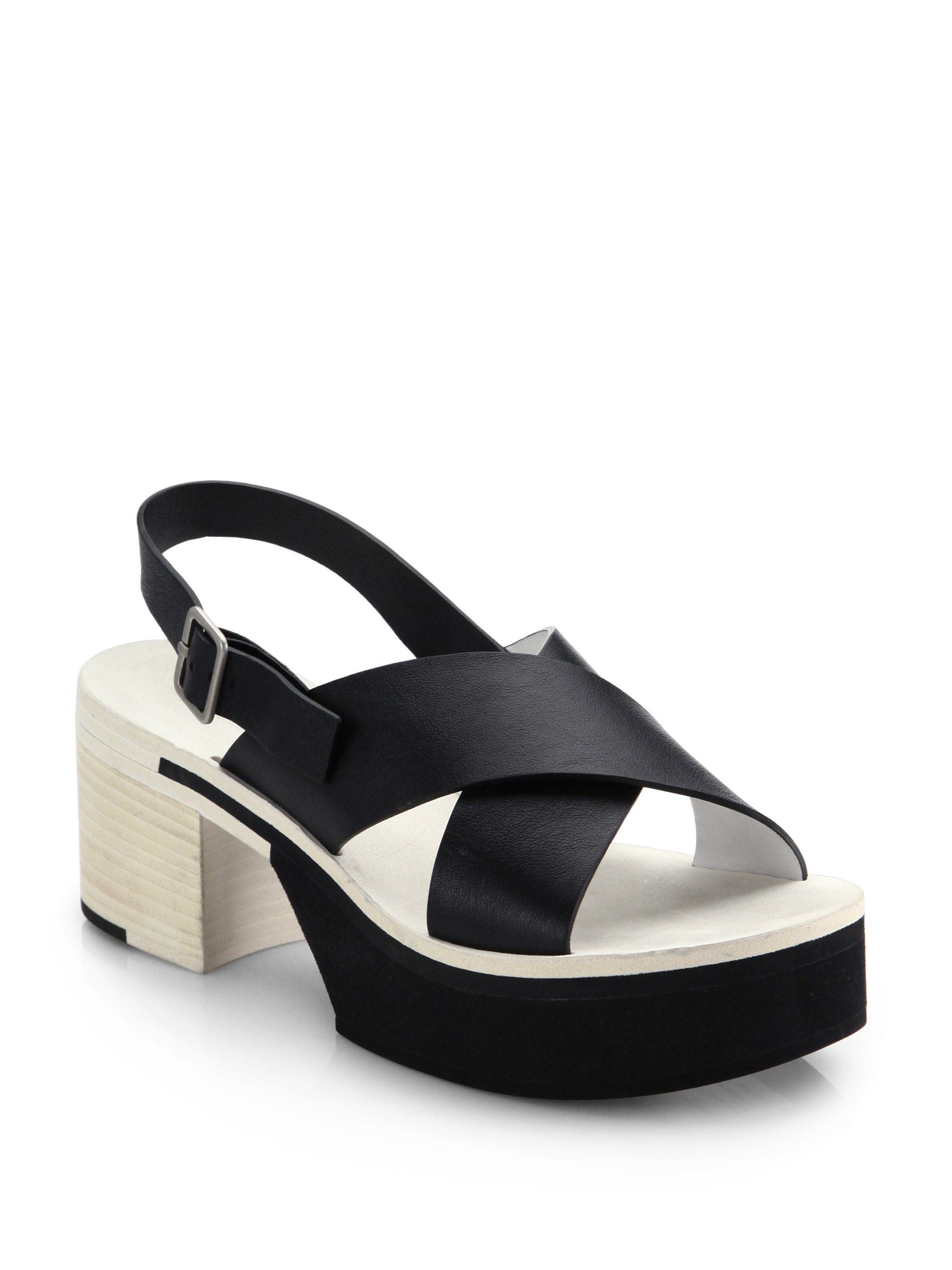 Lyst Jil Sander Leather Criss Cross Sandals In Black