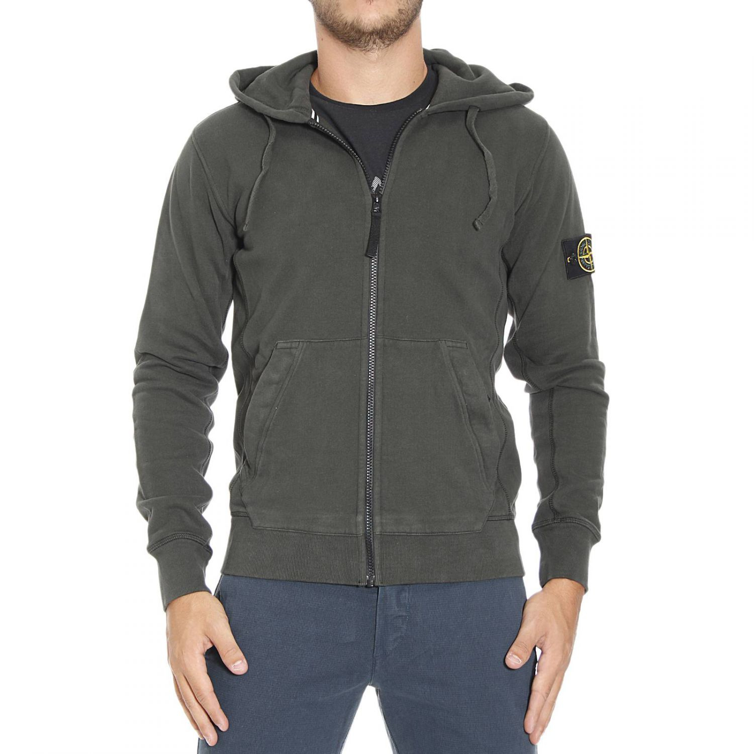 stone island sweater sweetshirt zip with hoodie in green for men lyst. Black Bedroom Furniture Sets. Home Design Ideas