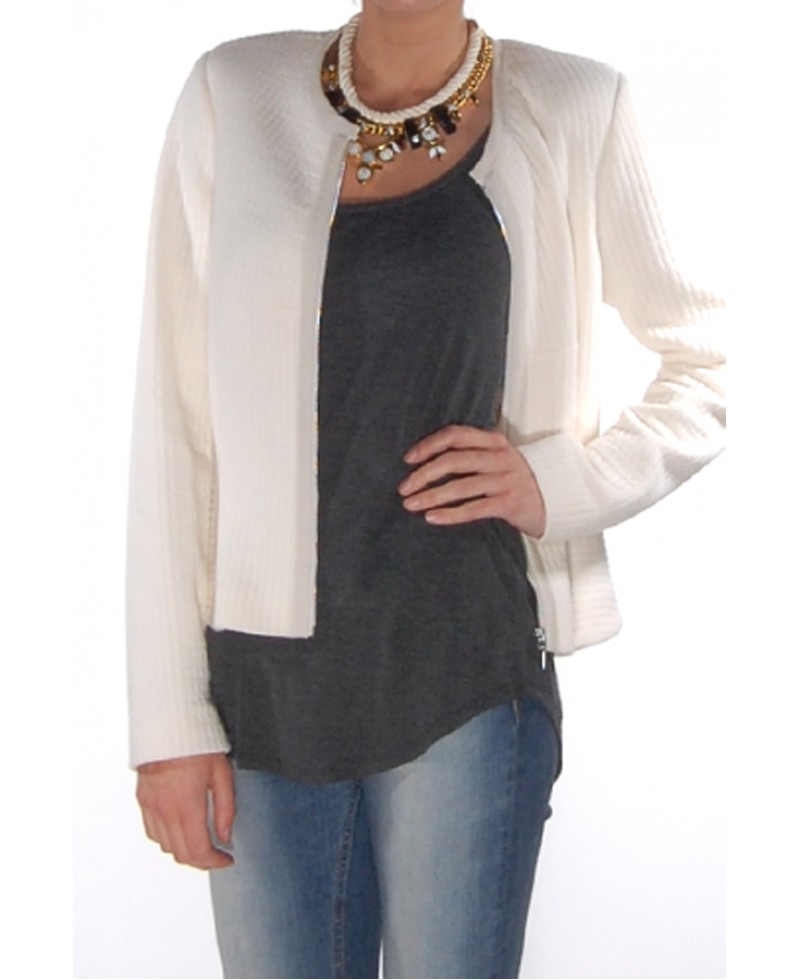 Rebecca Taylor Chalk Double Face Jersey Jacket In White Lyst