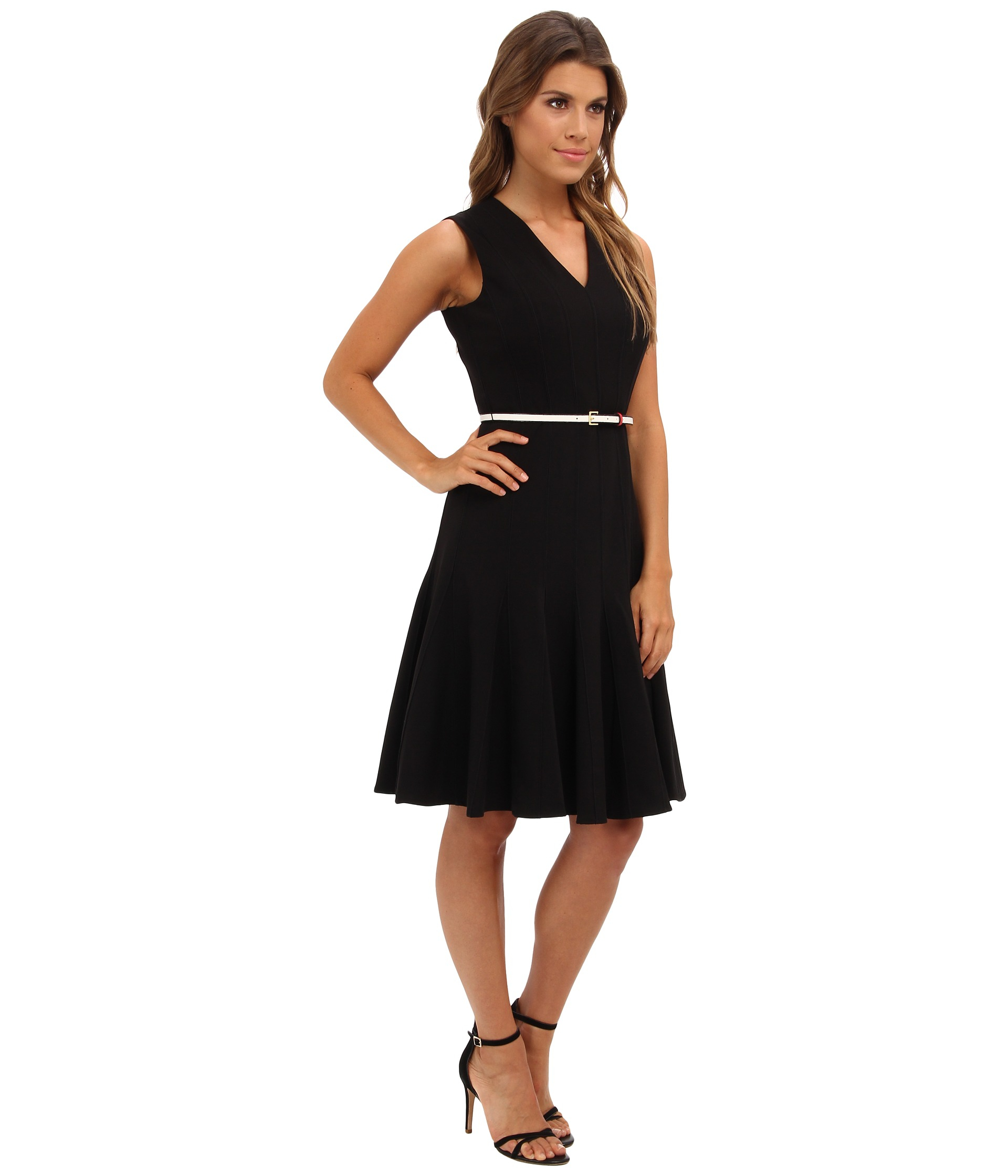 Calvin Klein Belted Lux Fit And Flare Dress In Black Lyst