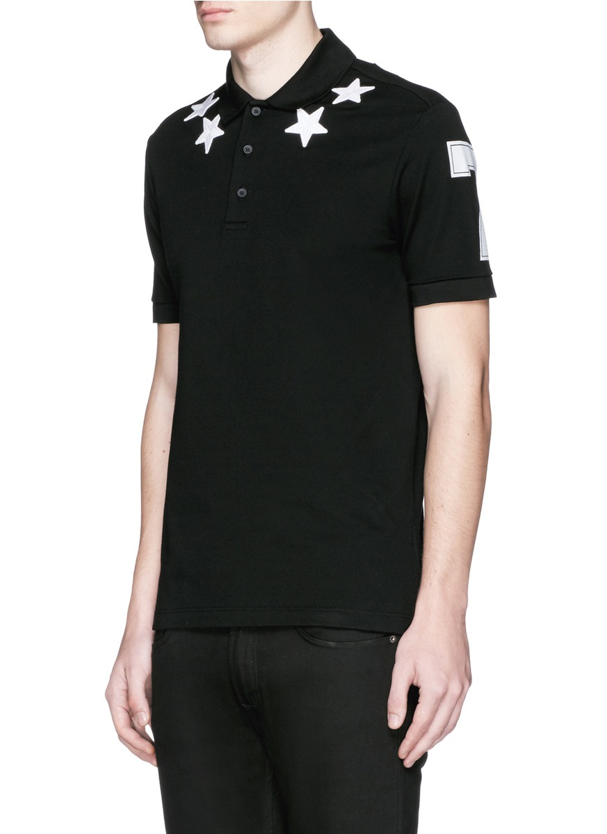 Givenchy star appliqu polo shirt in black for men lyst for Givenchy 5 star shirt
