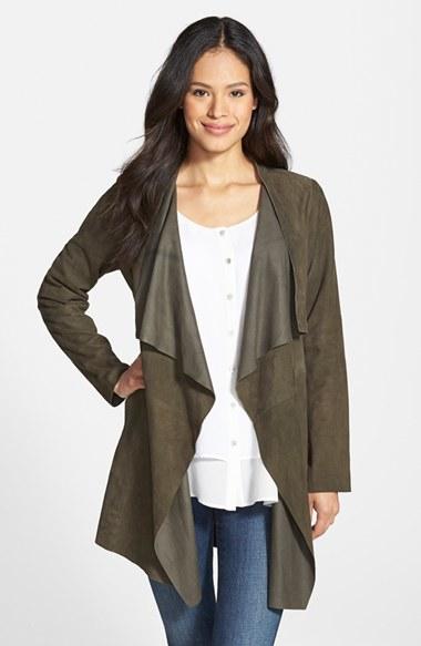 Eileen Fisher Drape Front Soft Suede Jacket In Green Lyst