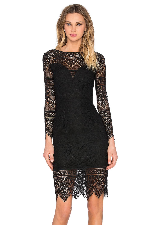 Bobi Lace Overlay Midi Dress In Black Lyst