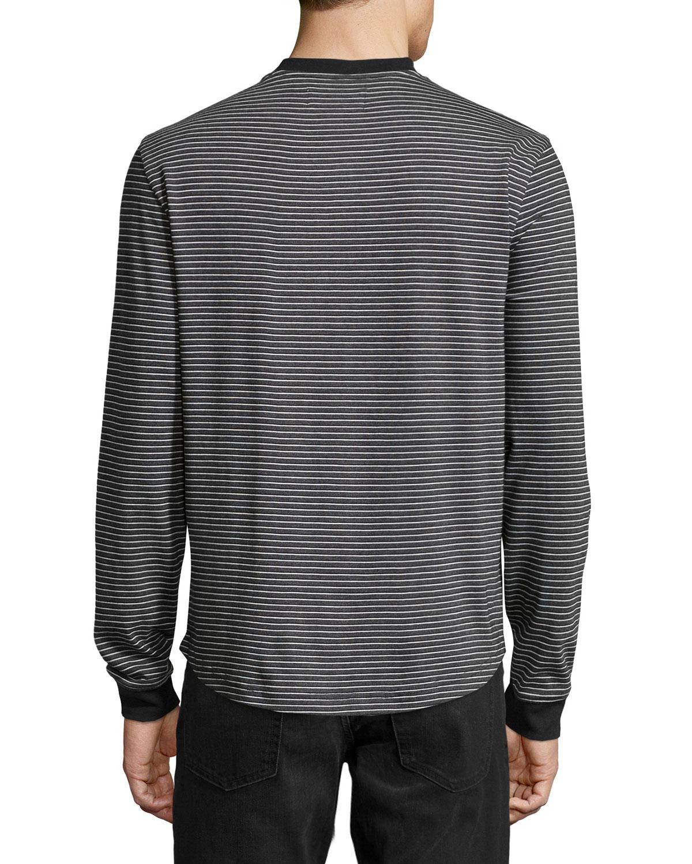 Original penguin long sleeve striped henley tee in black for Black long sleeve henley shirt