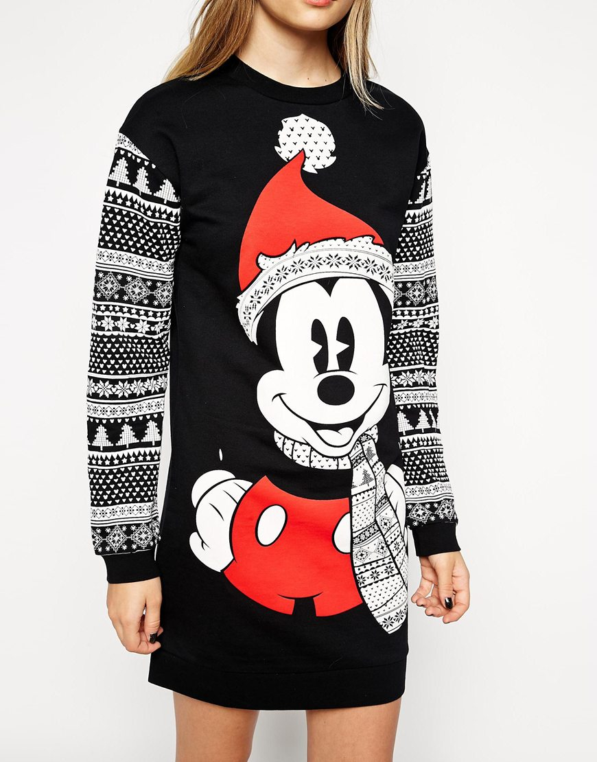 Lyst Asos Jumper Dress In Christmas Mickey Mouse