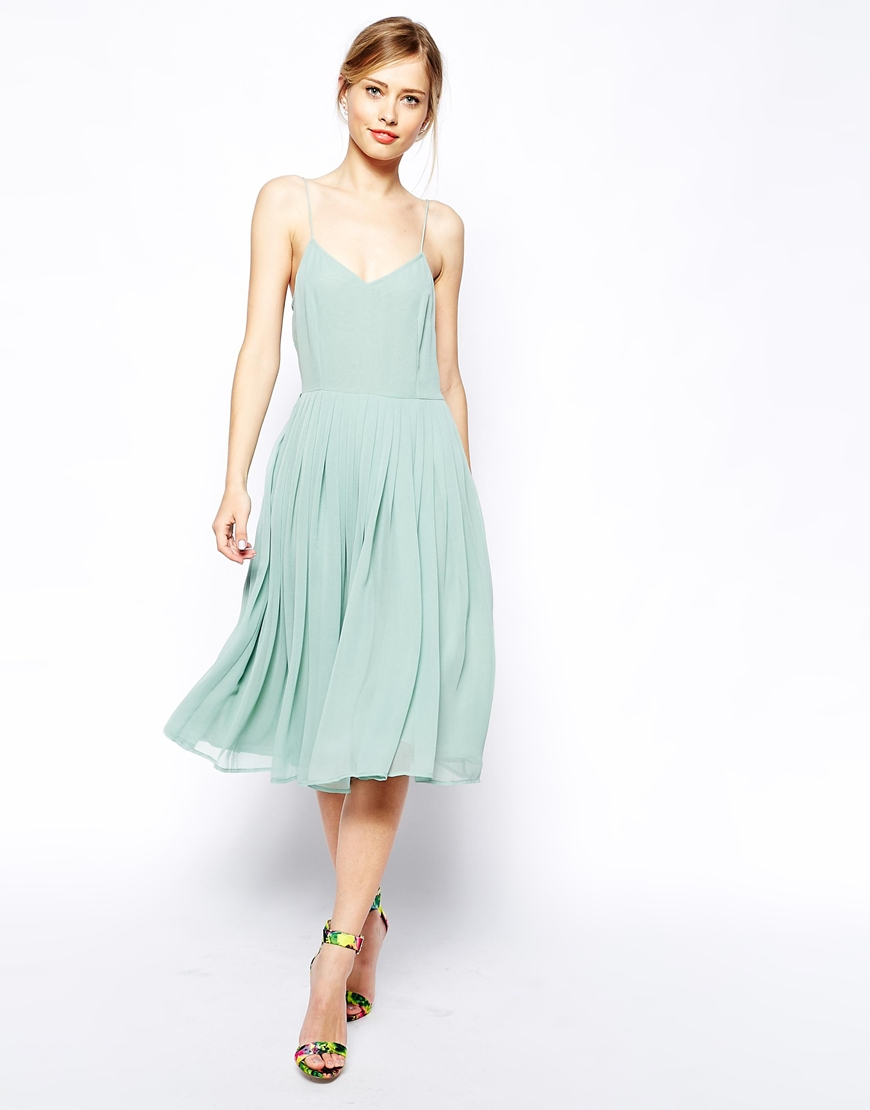 Asos Skater Dress With Pleated Skirt in Green | Lyst