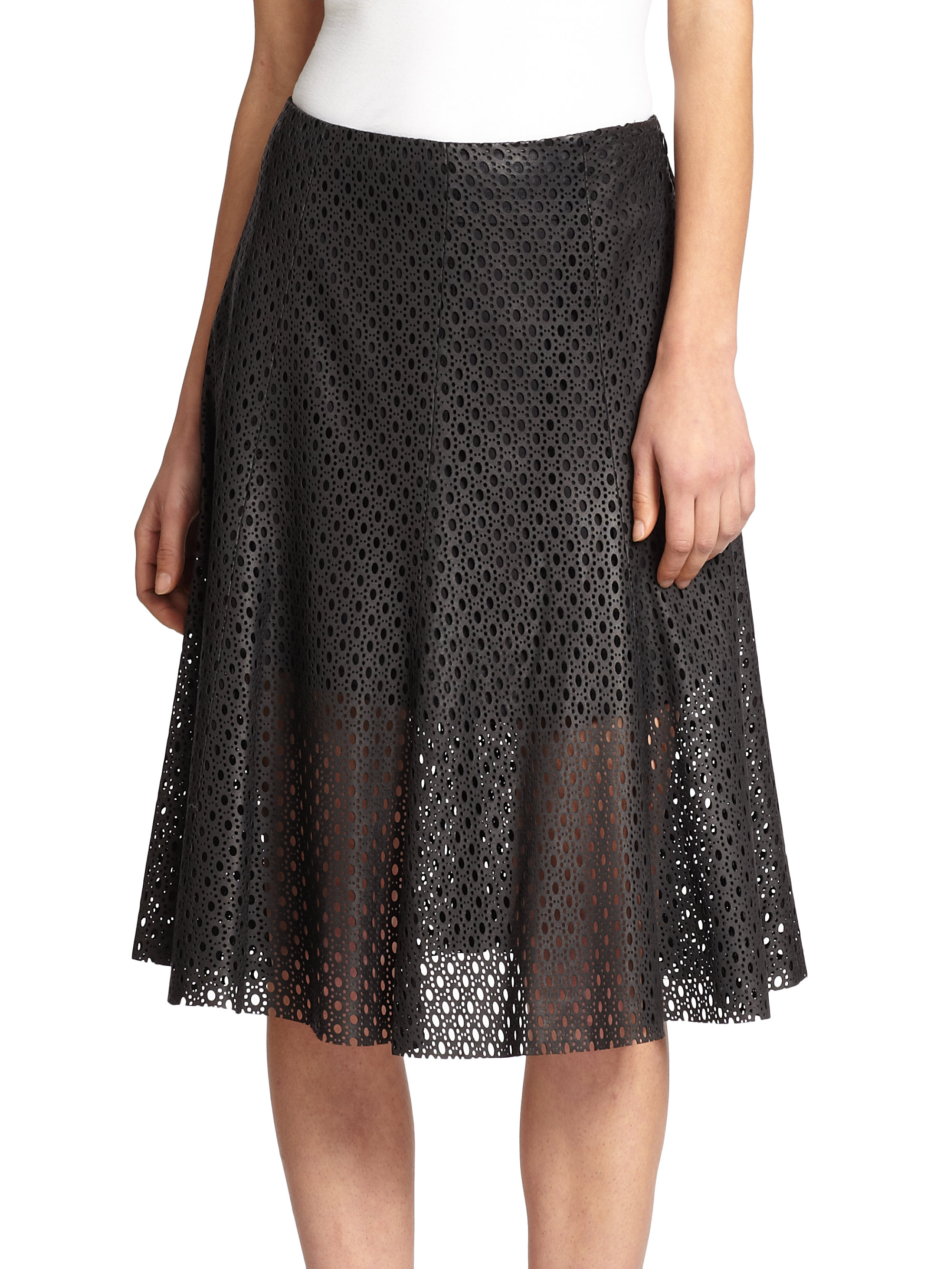 theory bhima laser cut leather skirt in black lyst