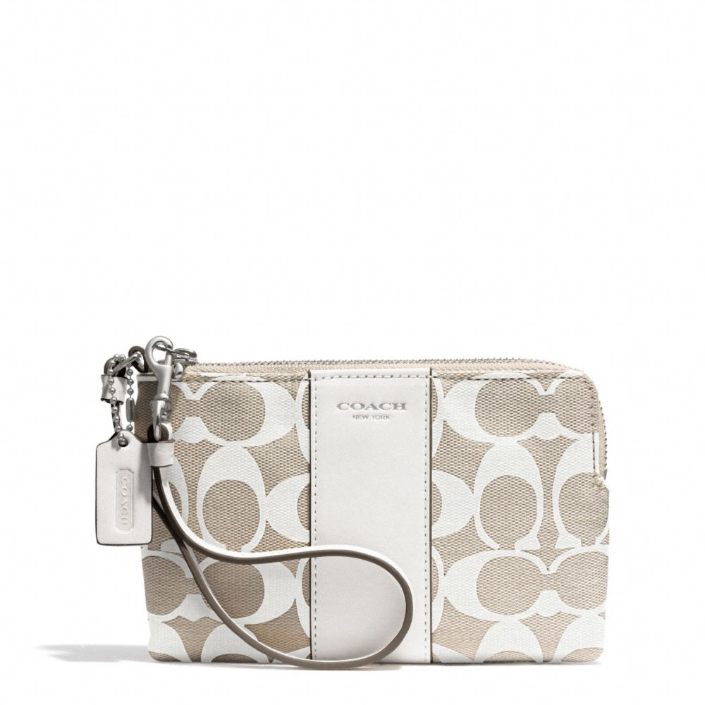 coach boxed legacy lzip small wristlet in printed signature fabric in white lyst. Black Bedroom Furniture Sets. Home Design Ideas