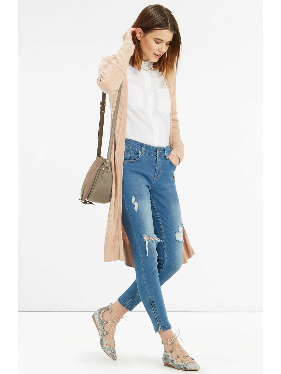 Oasis All-over Rib Longline Edge To Edge Cardigan in Natural | Lyst