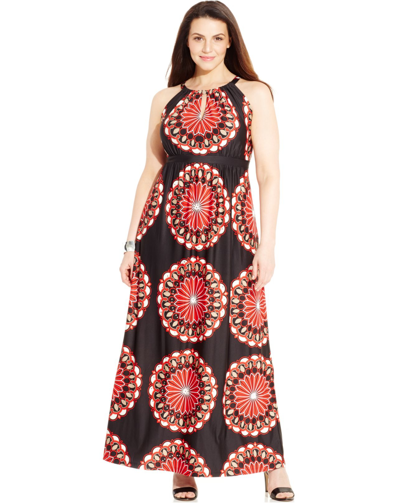Keyhole neck print maxi dress
