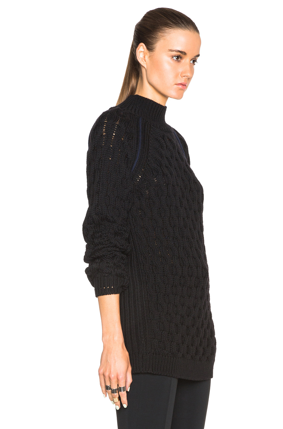 Mugler Cable Knit Open Back Sweater in Black Lyst