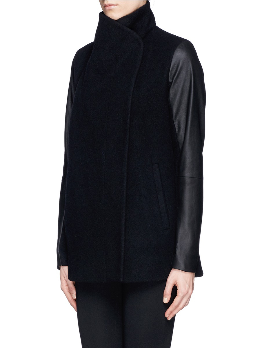 Theory Naomo Leather Collar And Sleeve Felt Jacket In
