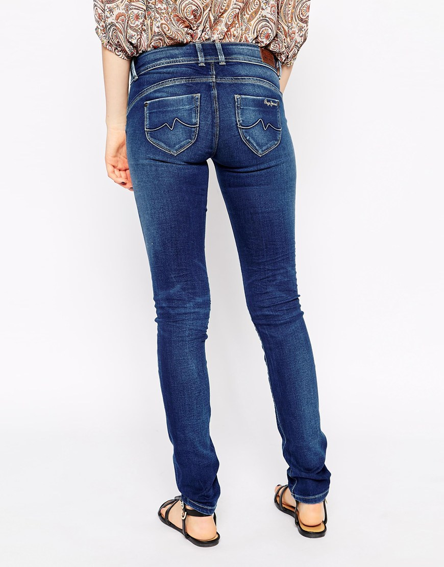 pepe jeans new brooke skinny jeans in blue lyst. Black Bedroom Furniture Sets. Home Design Ideas