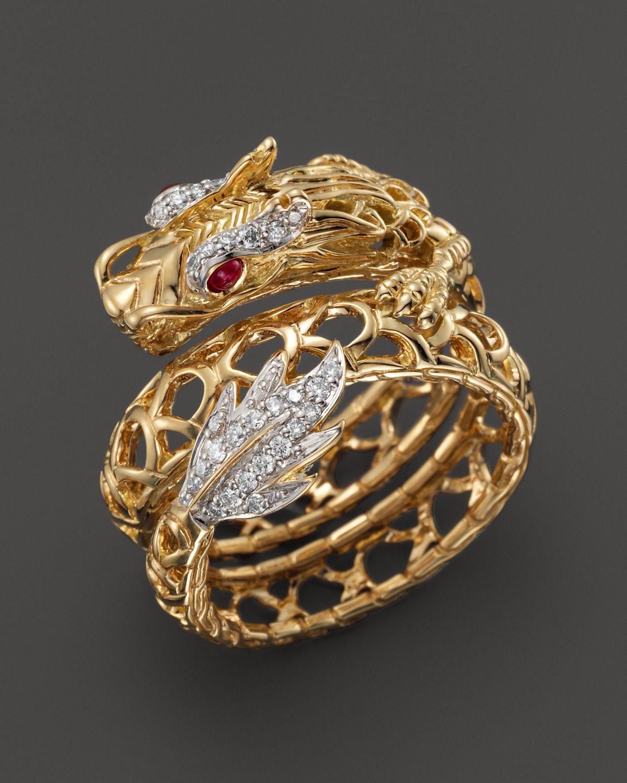 John Hardy Batu Naga 18k Yellow Gold Diamond Pave Dragon