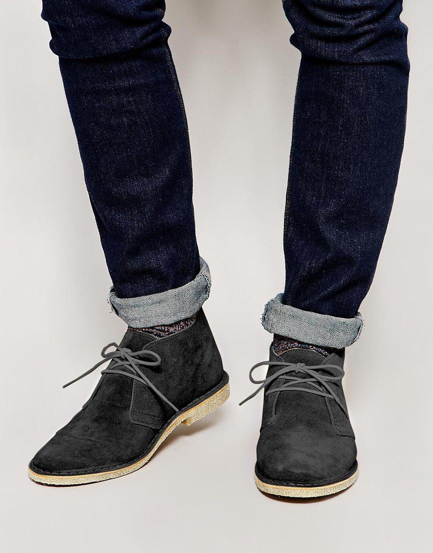 Asos Desert Boots In Suede In Gray For Men Lyst