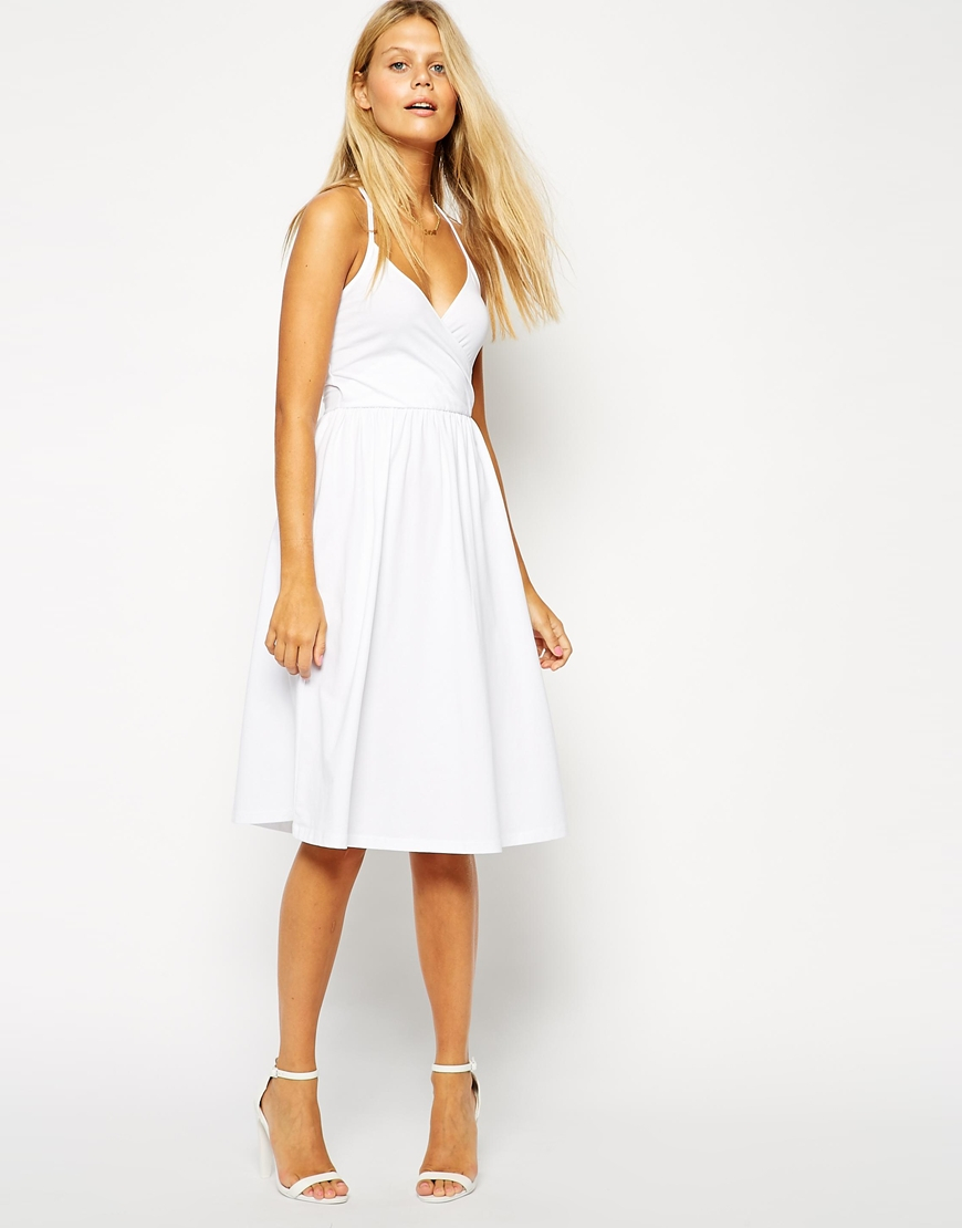 9e7f0ffe43e ASOS Midi Sundress With Strappy Back And Wrap Front in Black - Lyst