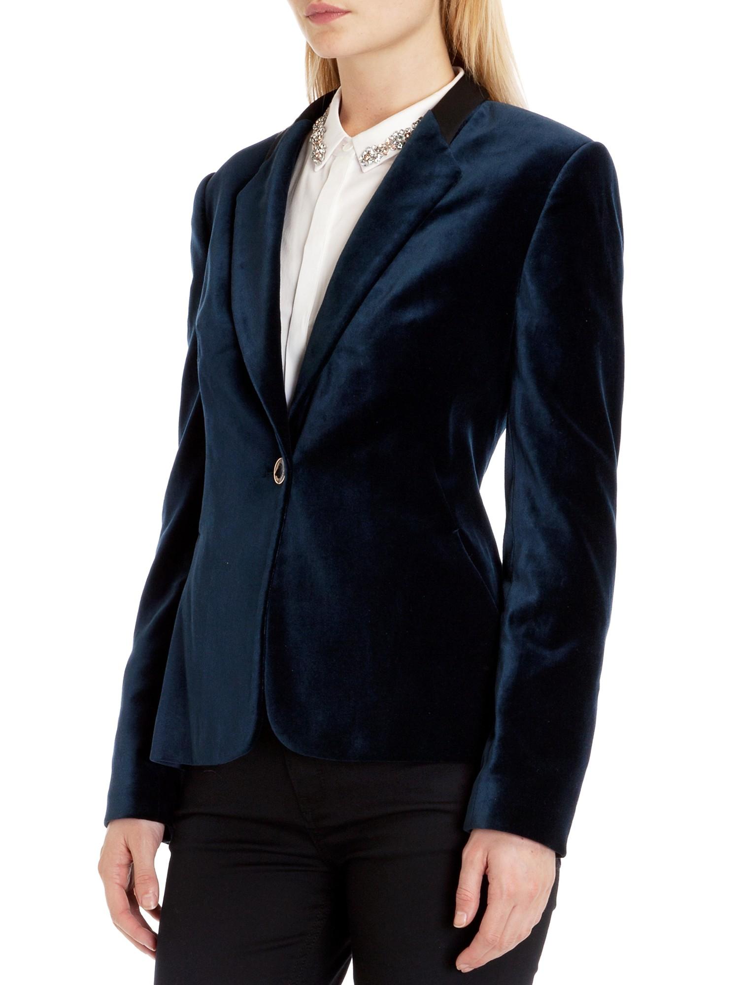 Ted Baker Single Button Velvet Blazer In Blue Lyst