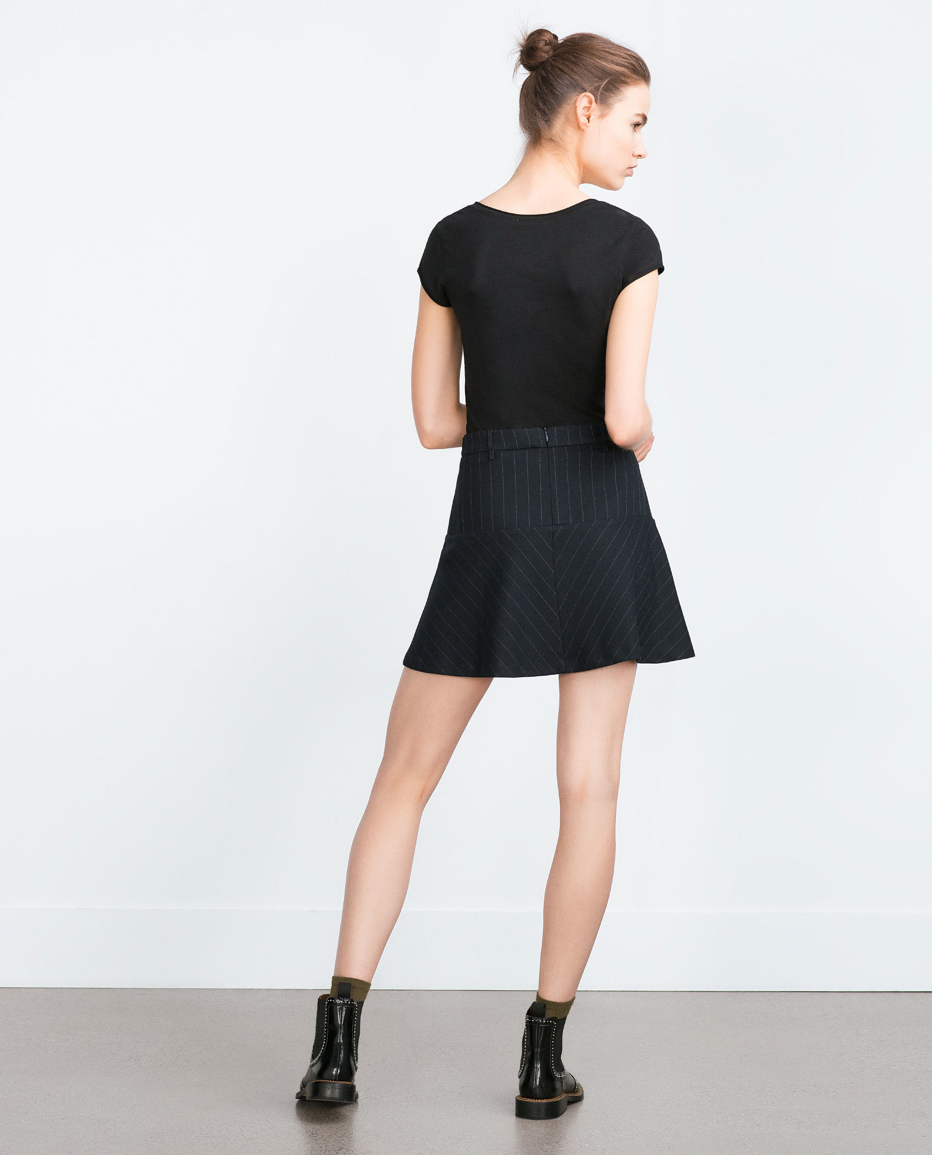 Zara short sleeve t shirt in black lyst for Zara black t shirt dress