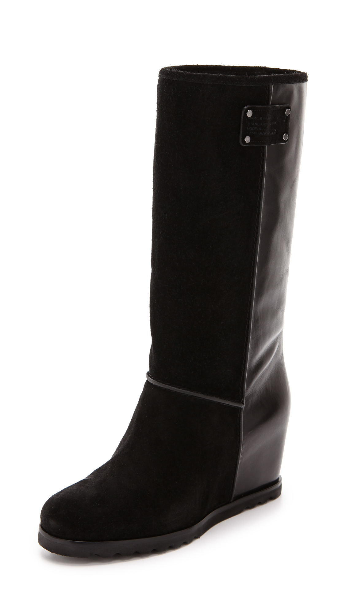 Marc By Marc Jacobs Leather Winter Warming Tall Wedge Boots - Black