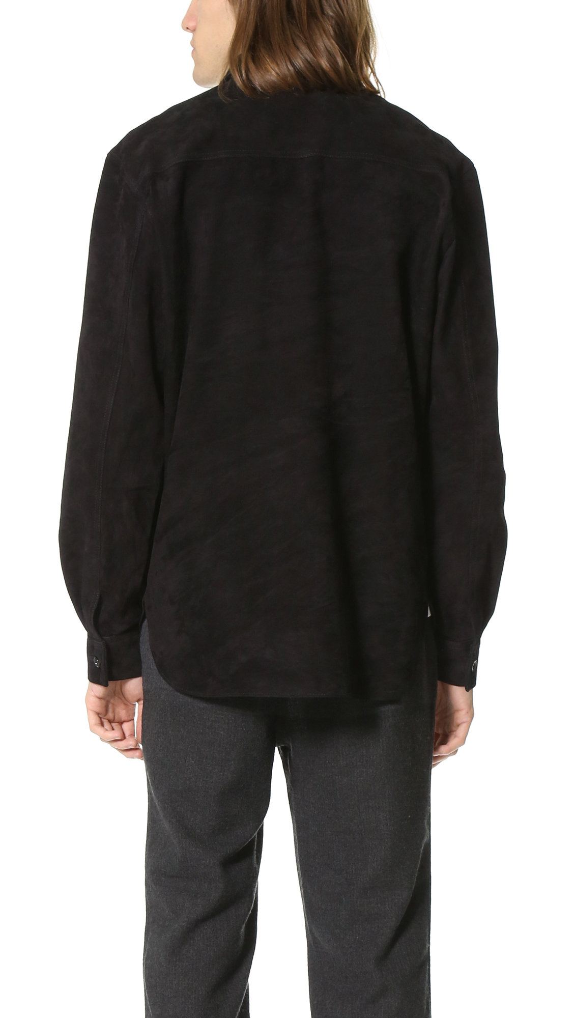 7d1cefe32047 Lyst - Our Legacy Suede Shawl Zip Shirt in Black for Men