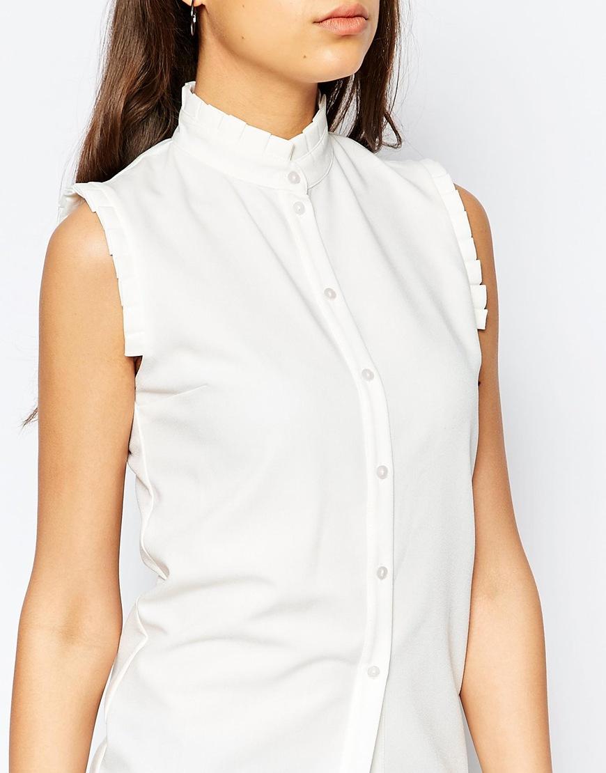 Lyst alter tall lter tall frill trim sleeveless shirt in for Tall sleeveless t shirts